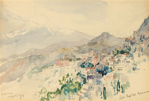 european hillside village by colin campbell cooper