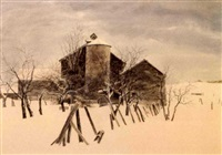 barn in winter by robert addison