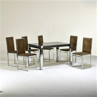 dining table and six side chairs (7 works) by la metal arredo