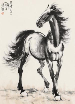 秋风立马 horse by xu beihong