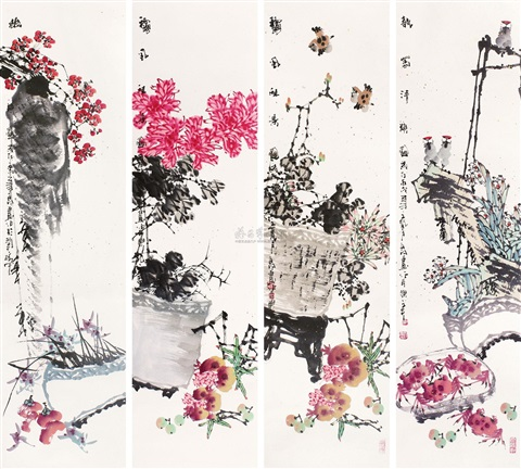 baiyu 花鸟 birds and flowers 4 works by bai yuping