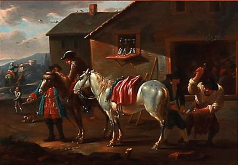 the white horse is being shoed by august querfurt