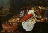 stillleben mit hummer, früchten und geschirr by andries benedetti