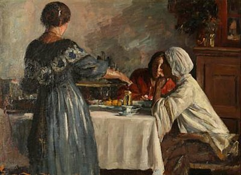 italian women around a coffee table by herman albert gude vedel