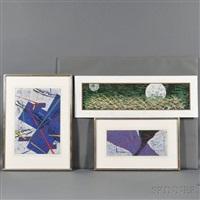 auspiciousness; blue land (2); purple night (3 works) by yuichi hasegawa