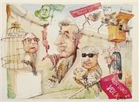 wendehälse oder wir sind das volk. erich mielke, egon krenz, hans modrow mit erich honecker und weitere als (raub-) vögel bzw. frosch dargestellte politiker by hans reiser