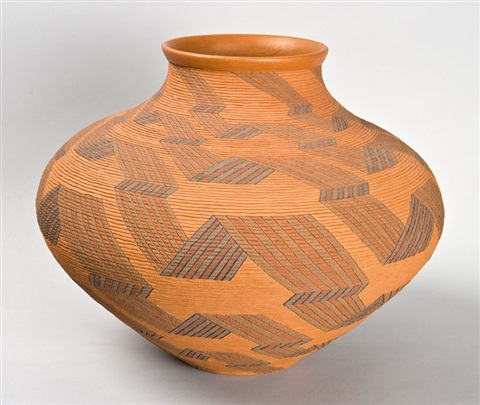 incised polychrome pot with geometric ribbon design by richard zane smith