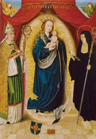 madonna mit dem hl benedikt und der hl scholastika by bartholomäus barthel bruyn the younger