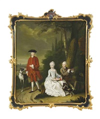 a group portrait of isaac willensz hooft, daniel willensz hooft and clare hidegonda hooft with a spaniel and lurcher in a landscape by tiebout regters