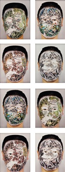 chinese landscape face painting series no. 9 (set of 8) by huang yan