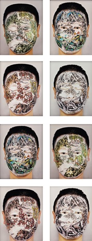 chinese landscape face painting series no 9 set of 8 by huang yan