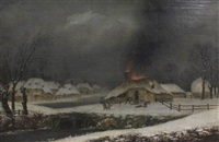 winter landscape with cottage on fire by george smith of chichester
