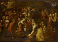 moses schlägt wasser aus dem felsen (mose 2.17) by marten pepyn