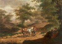 bewaldete landschaft mit bauer und kühen by johannes warnardus bilders