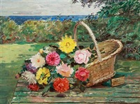 still life with flowers in a basket by matthias m. peschcke-køedt
