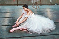 a ballet girl tying her shoes by alexander akopov
