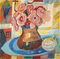 stillleben mit rosen und einer kaffeetasse by ida kerkovius