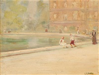 figures near a reflecting pond by clarence hinkle