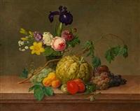 opstilling med blomster og frugter på en stenkarm by johannes ludwig camradt