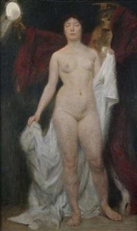 weiblicher akt mit tod als vanitasallegorie by hermann behrens