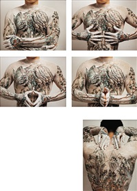 chinese shanshui tattoo (set of 5) by huang yan