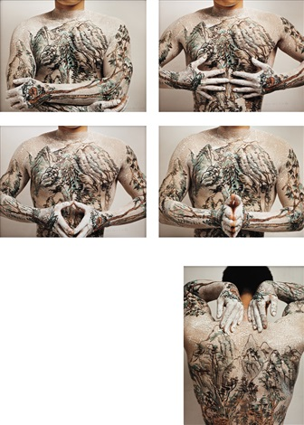 chinese shanshui tattoo set of 5 by huang yan