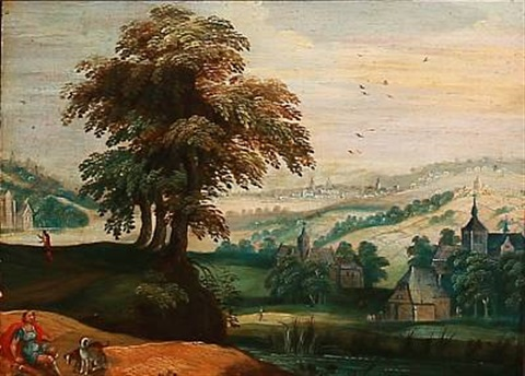 hilly landscape with numerous church towers by joos de momper the younger