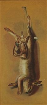 nature morte - rabbit and game birds by louis adolph winterhalder