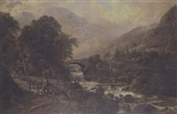 figures and animals near a torrent in a mountainous landscape by ferdinand franz hoepfner