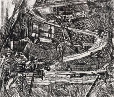 板画《工地》 construction site wood block by xu bing