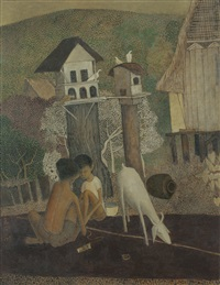malay boys with goat by cheong soo pieng