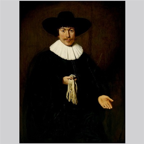 young man with gloves by dirck dircksz van santvoort