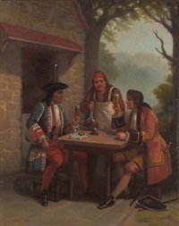 gentlemen raising their glasses by benjamin franklin reinhart