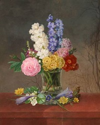 a vase with roses, lilies of the valley, hyacinths, crocuses and buttercups and other flowers by johannes ludwig camradt