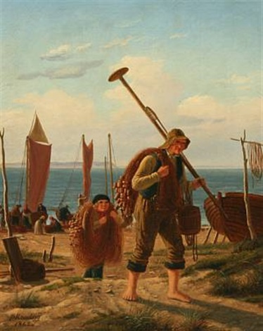 fishermen on the beach by peter johann p raadsig