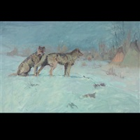 wolves stalking indian encampment by elling william gollings