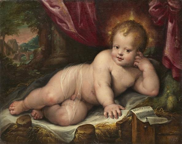 det vilande jesusbarnet i italienskt landskap by hans rottenhammer the elder