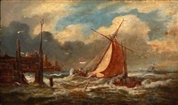 dutch coastal scene with sailing boats in high waves by johannes frederik hulk the elder