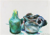 stilleben mit flasche und kanne (+ 2 others, gouache and watercolor over pencil; 3 works) by holger bunk