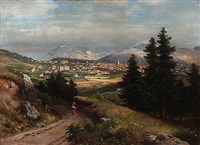 south german landscape with a large town in a valley by carl gustav rodde
