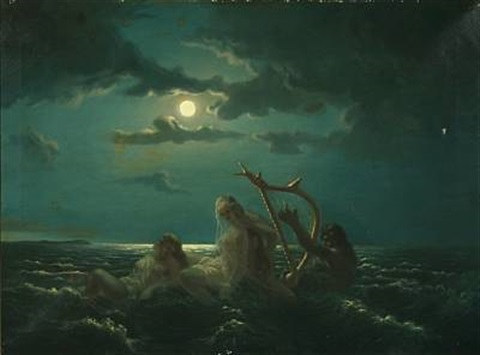 merman playing for nymphs by harald theodor uddén