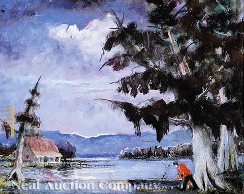 pirogue on the bayou by william arnold