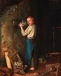 a boy drinking while hiding behind back stairs by martin (ludwig m.) wilberg