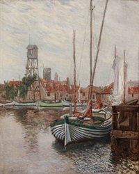 summer day at dragør harbour by julius christian rehder