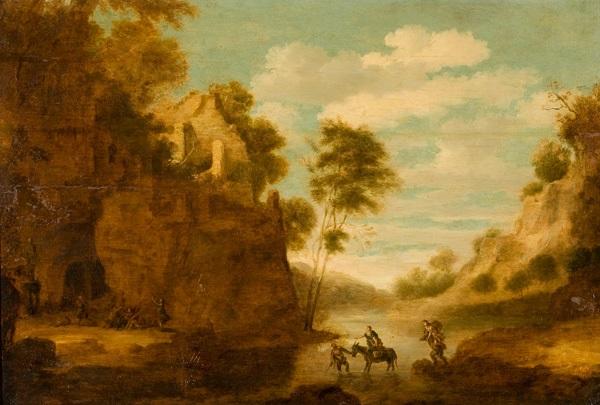 flusslandschaft mit tier und figurenstaffage by cornelis van poelenburgh