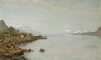indian camp with figures in a boat on a lakeshore by olaf jonas grafstrom