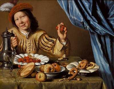ung adelsmand siddende ved et veldækket bord med kirsebær, æbler og kringler på fade by christian van couwenbergh