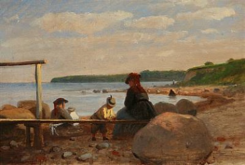 children and their mothers on lundeborg beach denmark by anton laurids johannes dorph