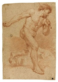 male nude holding a rod to his left shoulder (+ kneeling man tying a rope; 2 woroks) by andrea di leone