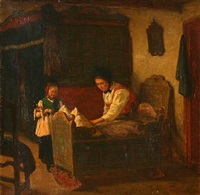 country interior with mother and daughter by valdemar holger v. rasmussen magaard